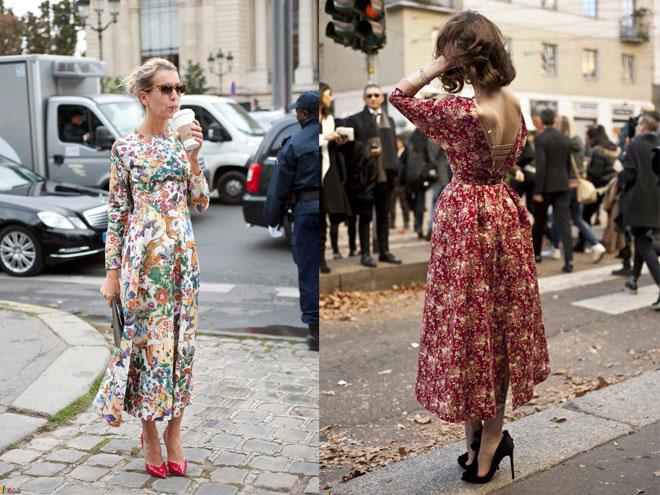 Платья в цветочек с чем его носить