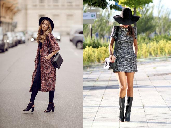 Образ платье с шляпой