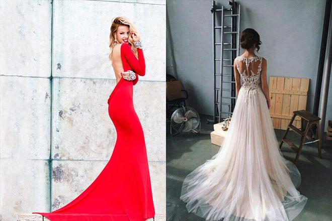 Вид платьев с зади