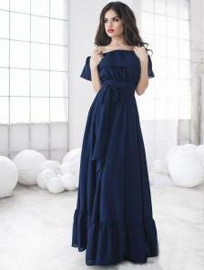 Шикарное платье благородного темно-синего цвета