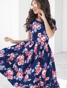 Обворожительное синее платье с цветочным принтом