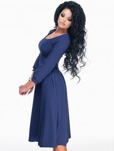 """Элегантное синее платье с юбкой """"солнце"""""""