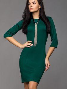 Зеленое трикотажное платье мини длинны с длинным рукавом