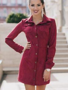 Стильное красное платье из нежного замша