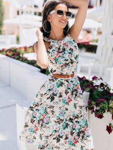 Элегантное цветочное платье миди