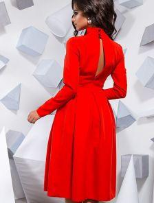 Эффектное пышное красное платье  миди длины