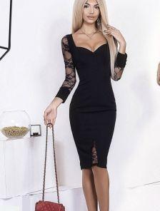 Элегантное черное платье с гипюровыми вставками