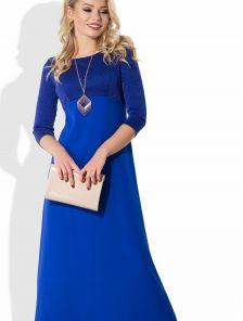 Шикарное вечернее платье с вставкой из люрексовой нити на трикотажной основе