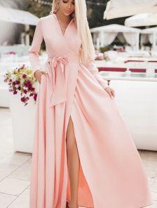 Обворожительно платье на запах в пол розового цвета