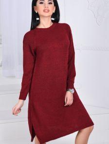 Теплое свободное платье цвета бордо