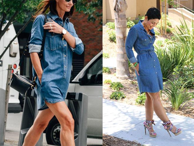 джинсовые платья рубашки сочетаются с кедами, слипонами либо сандалиями