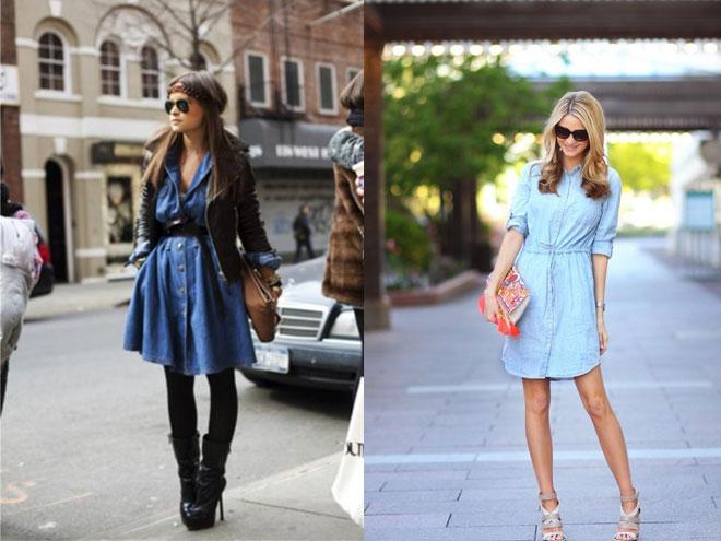 в моде джинсовое платье рубашка, фото и идеи образов