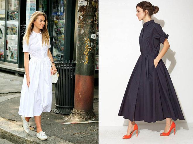 фото и идеи образов с длинным платьем рубашкой