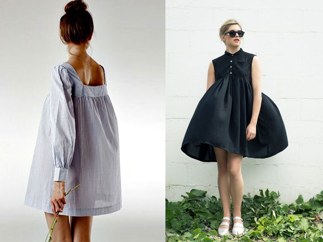 пышное платье-рубашку можно одеть на встречу с подругами