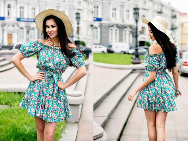 Цветочное летнее платье, фото образов