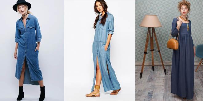С чем сочеть джинсовое летнее платье, фото