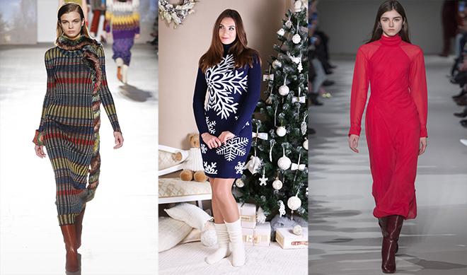 Какие фасоны трикотажных платьев в тренде зимой 2018 года