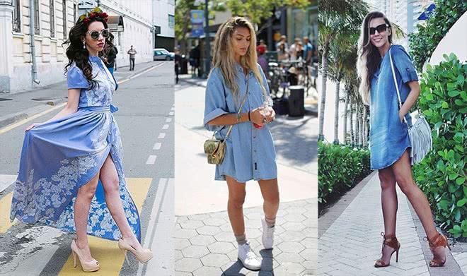 джинсовое платье рубашка с туфлями на каблуках или босоножками, фото