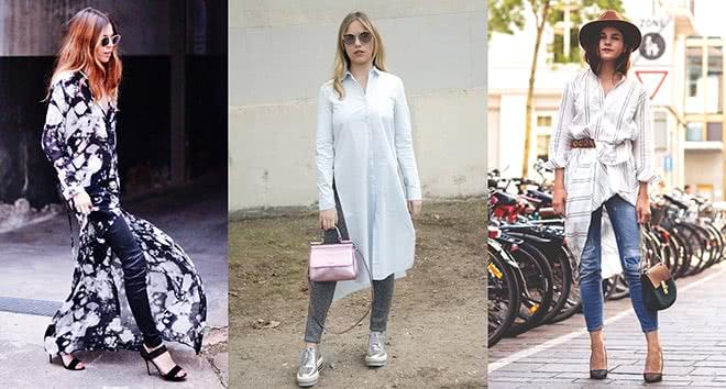 Платье рубашка с брюками и джинсами, фото и идеи образов