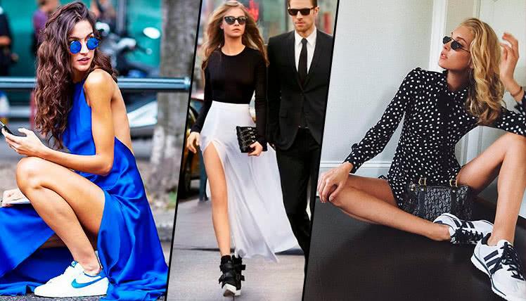 Как носить платье с кроссовками, фото