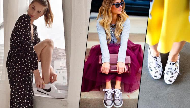 Какие кроссовки выбрать под платье, фото