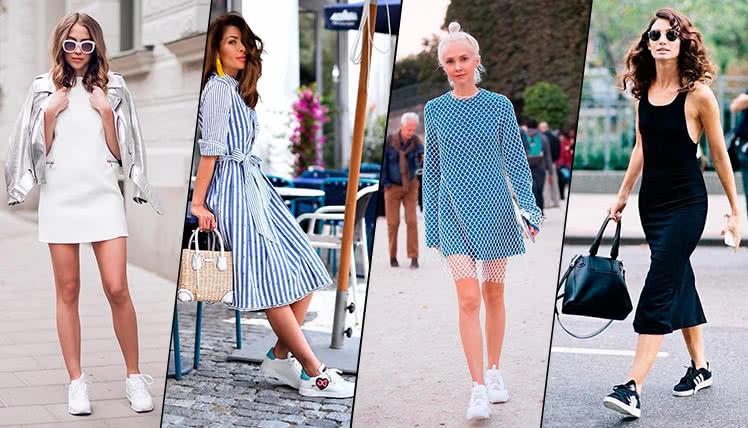 Как носить платье с кроссовками, модные образы, фото примеры
