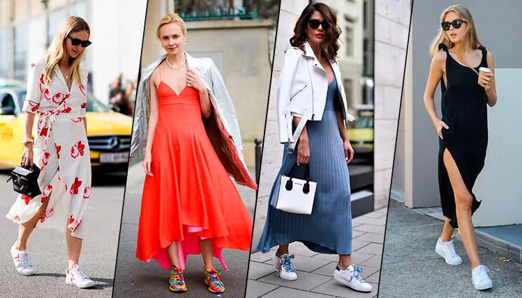 Как носить платье с кроссовками, фото, примеры модных луков