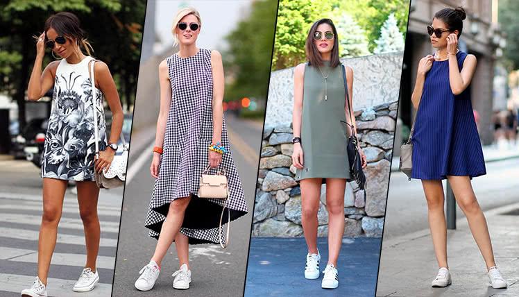 Платье трапеция с кроссовками, фото