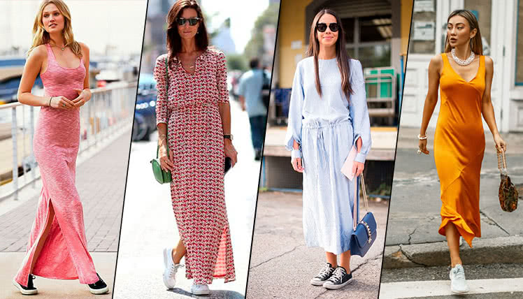 Какие кроссовки можно носить с длинным платьем, фото