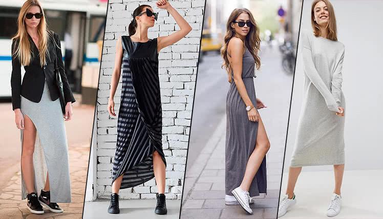 Как носить длинное платье с кроссовками, фото, примеры образов