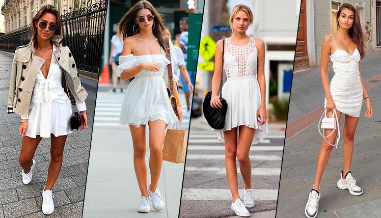 Короткое платье с кроссовками, фото примеры