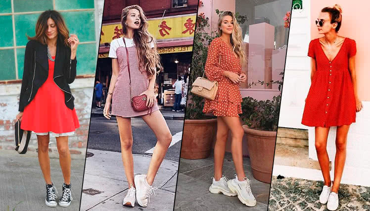 Какие кроссовки носить с коротким платьем, фото