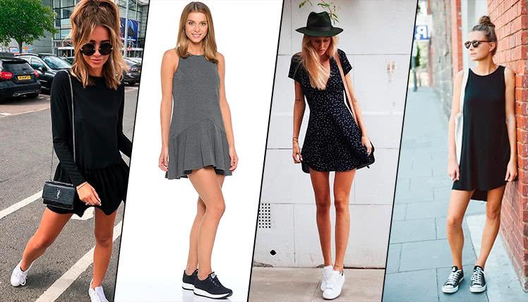 С какими кроссовками сочетается короткое платье, фото