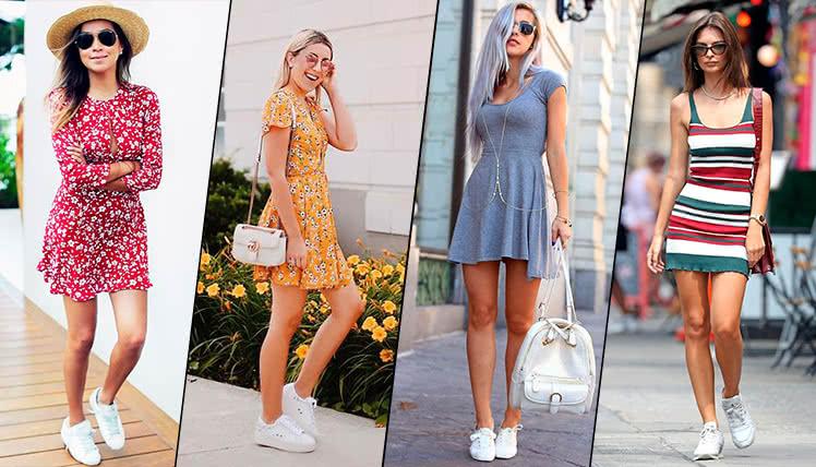 Как сочетать короткое платье с кроссовками, фото