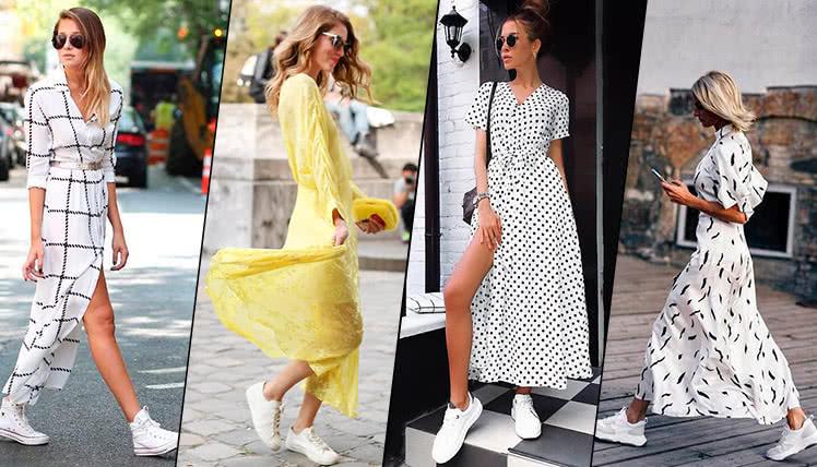 Летнее платье с кроссовками, фото, примеры образов