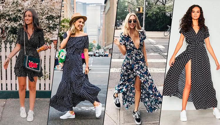 Как сочетать летнее платье с кроссовками, фото примеры