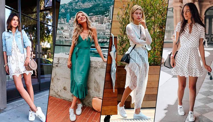 Как носить летнее платье с кроссовками, фото примеры