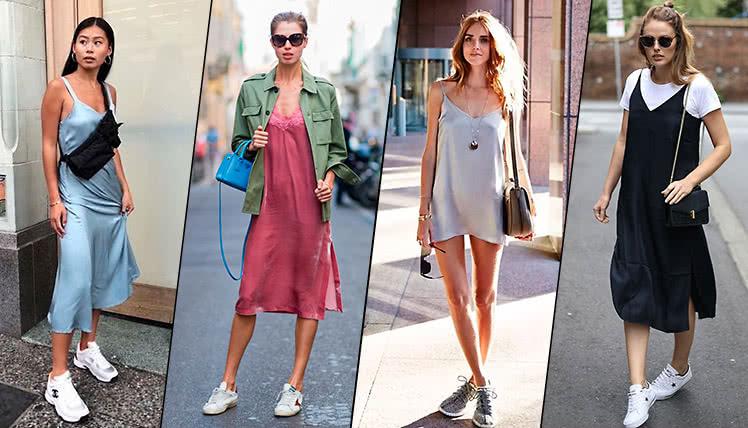 Как носить платье-комбинацию с кроссовками, фото, примеры