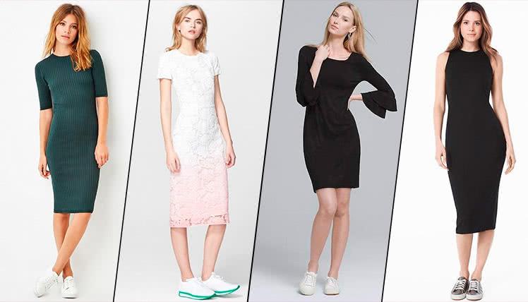 Как носить платье футляр с кроссовками