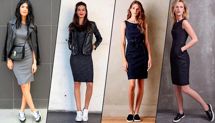 С какими кроссовками носить платье футляр, фото, примеры