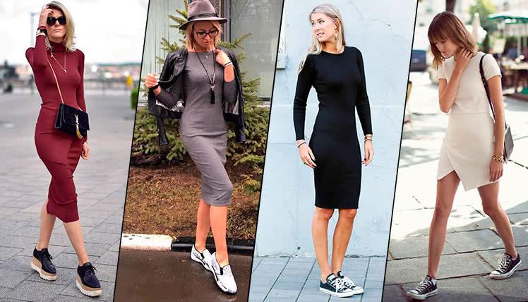 Как сочетать платье футляр с кроссовками, фото примеры