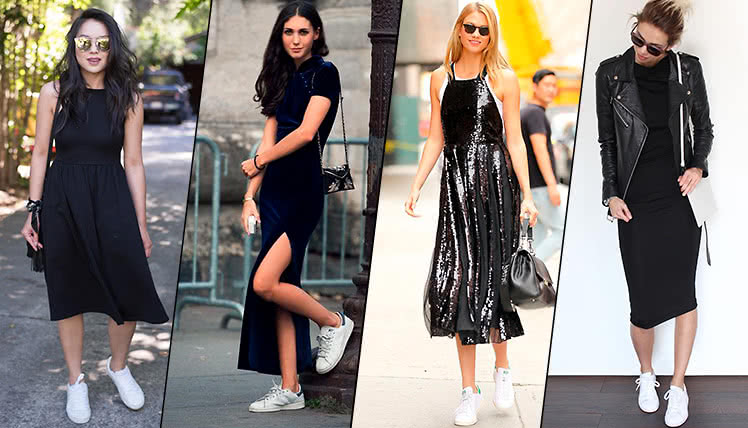 Какие кроссовки носить с черным платьем, фото образов
