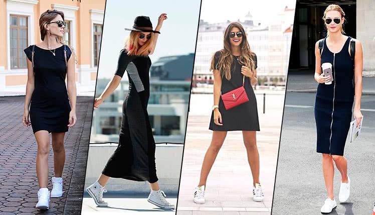 С какими кроссовками сочетается черное платье, фото