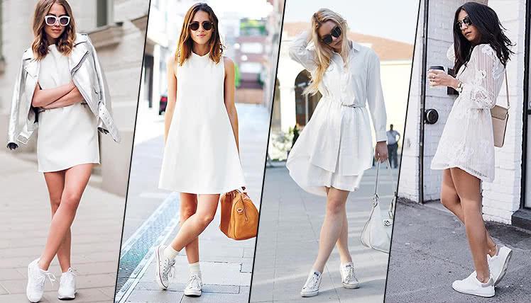 Как носить белое платье с кроссовками, фото