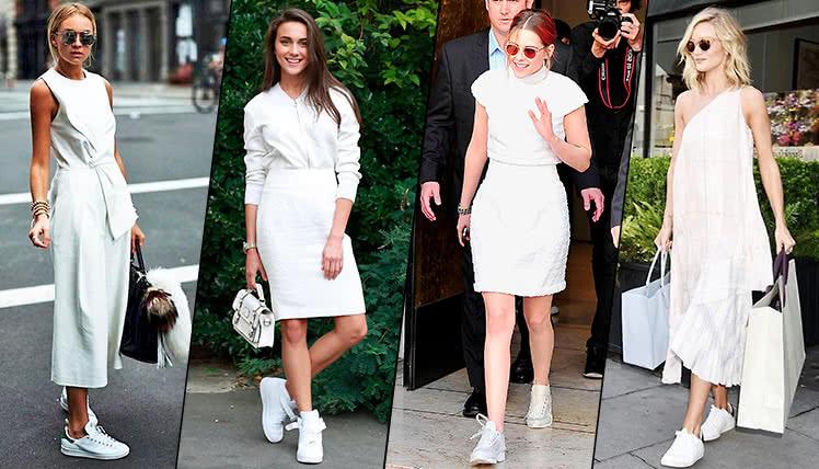 Как сочетать белое платье с кроссовками, фото образов