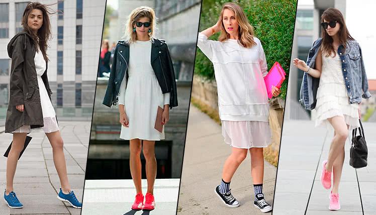 Какие кроссовки можно носить с белым платьем, фото