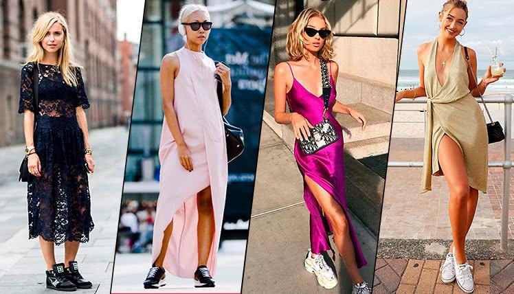 вечернее платье с кроссовками, фото, идеи образов