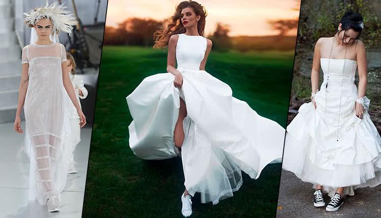 Как сочетать свадебное платье с кроссовками, фото и идеи образов
