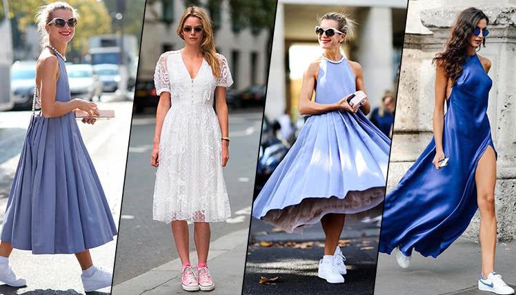 как сочетать выпускное платье с кроссовками?