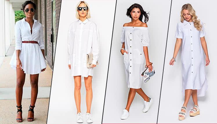 с чем носить белое платье рубашку, фото образов
